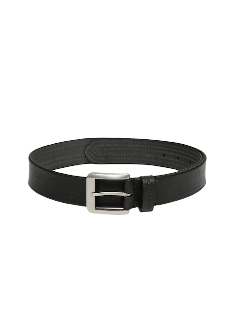 U.S. Polo Assn. Men Black Solid Leather Belt
