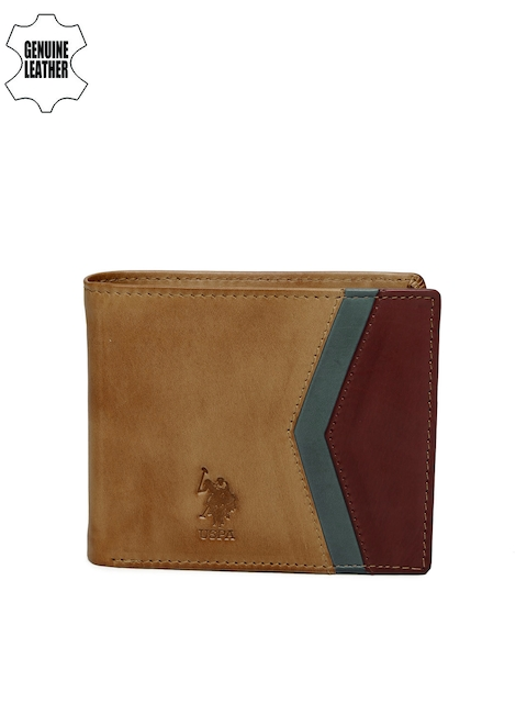 U.S. Polo Assn. Men Brown Colourblocked Genuine Leather Two Fold Wallet