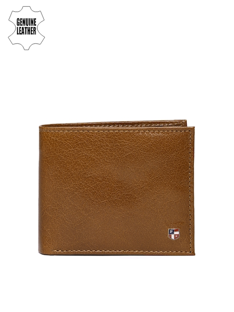 U.S. Polo Assn. Men Tan Brown Solid Genuine Leather Two Fold Wallet