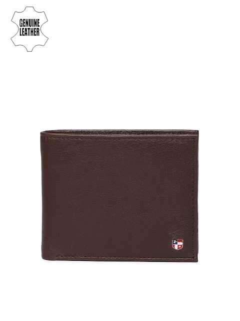 U.S. Polo Assn. Men Burgundy Genuine Leather Two Fold Wallet
