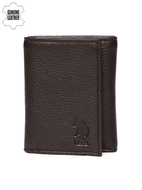 U.S. Polo Assn. Men Brown Genuine Leather Three Fold Wallet