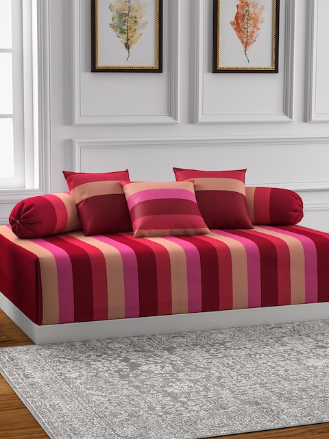 Swayam Magenta & Beige Striped Diwan Set with Bolster and Cushion Covers