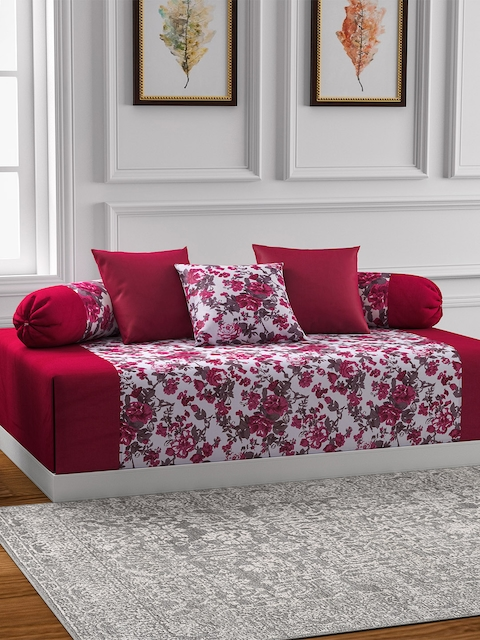 Swayam Magenta Off White Floral Print Diwan Set with Bolster and Cushion Covers