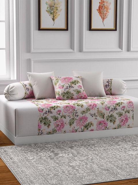 Swayam Cream & Pink Floral Print Diwan Set with Bolster and Cushion Covers