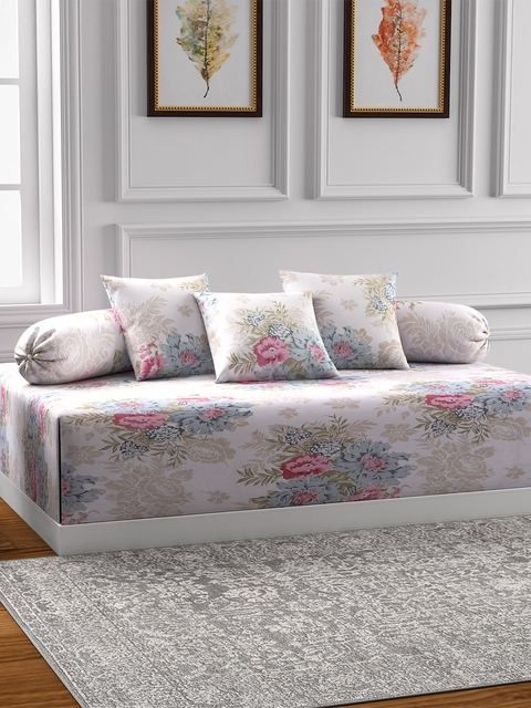 Swayam Off White and Cream Floral Print Diwan Set with Bolster and Cushion Covers