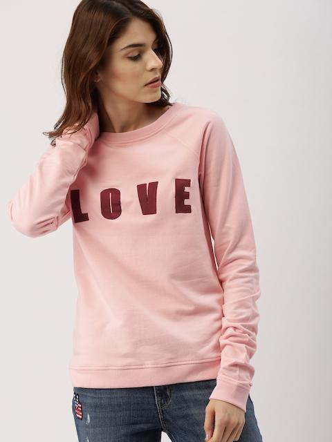 all about you from Deepika Padukone Women Pink Self-Design Sweatshirt