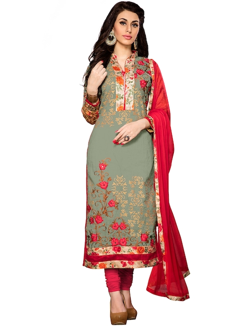 Blissta Olive Green & Red Embroidered Unstitched Dress Material