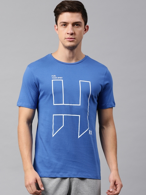 HRX by Hrithik Roshan Men Blue Printed Round Neck T-shirt  available at myntra for Rs.209