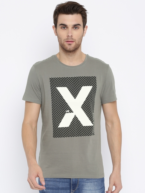 HRX by Hrithik Roshan Men Grey Printed Round Neck T-shirt  available at myntra for Rs.209