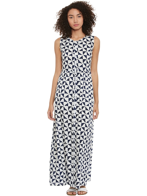 Femella Women White & Navy Printed Maxi Dress  available at myntra for Rs.625