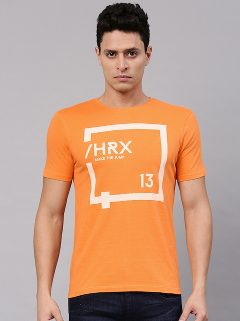 HRX by Hrithik Roshan Men Orange Printed Round Neck T-shirt  available at myntra for Rs.209