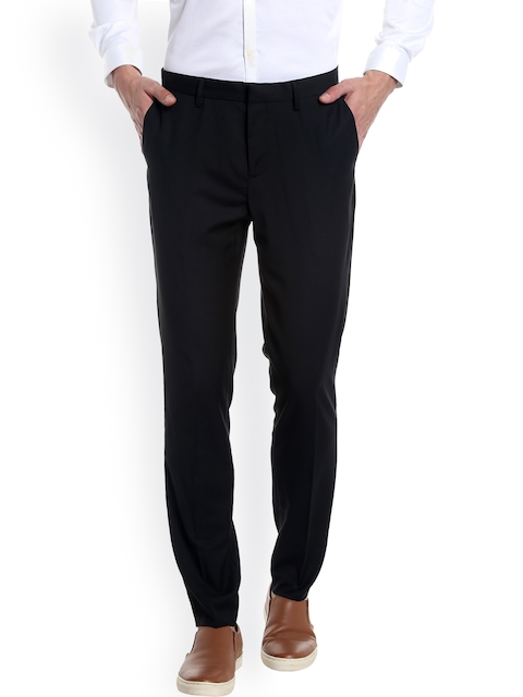 Jack & Jones Men Black Solid Formal Trousers