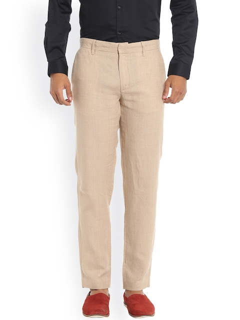 Jack & Jones Men Beige Solid Formal Trousers