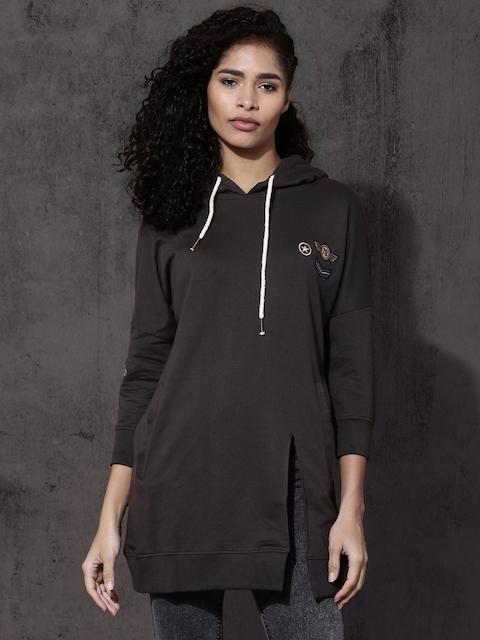 Roadster Women Charcoal Grey Solid Hooded Sweatshirt