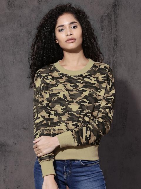 Roadster Women Beige & Black Camouflage Printed Sweatshirt