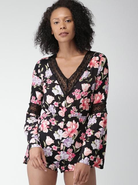 FOREVER 21 Black Floral Print Playsuit