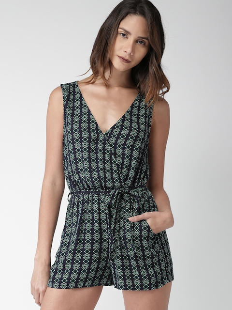 FOREVER 21 Navy Blue & Green Printed Playsuit
