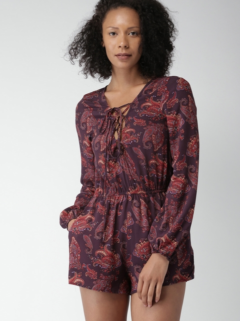FOREVER 21 Burgundy & Red Printed Playsuit