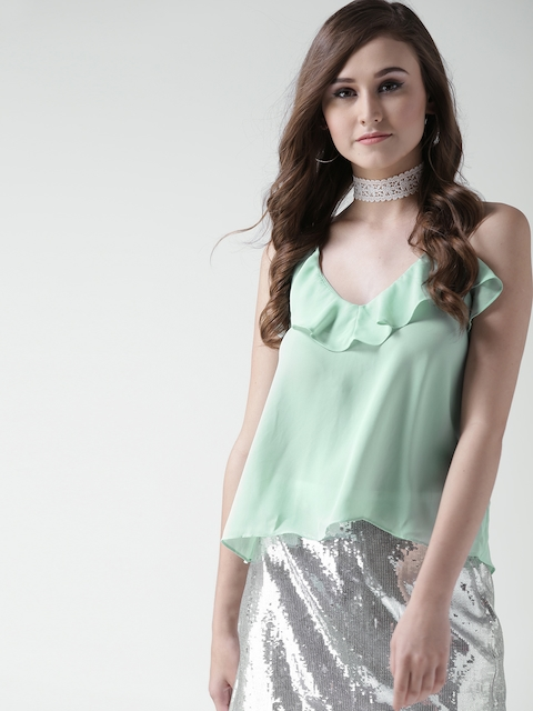FOREVER 21 Women Mint Green Solid Styled Back Top