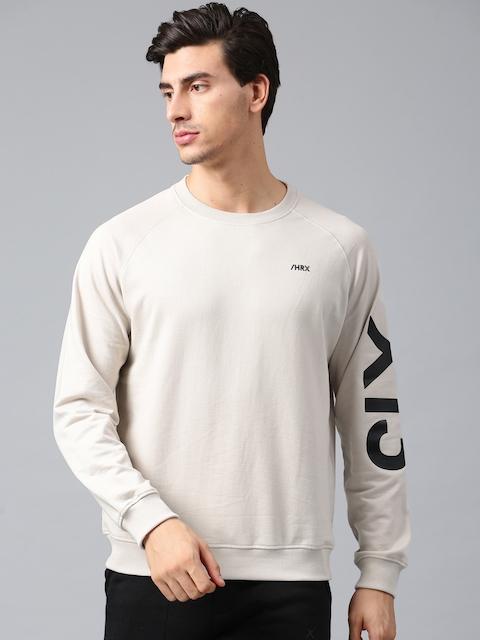 HRX by Hrithik Roshan Men Beige Solid Sweatshirt