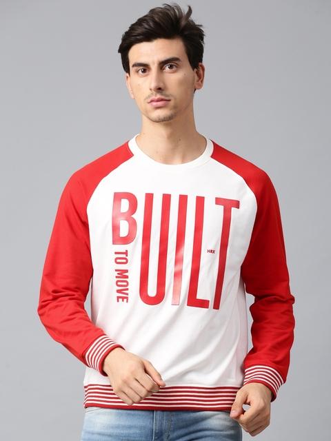HRX by Hrithik Roshan Men White & Red Printed Sweatshirt