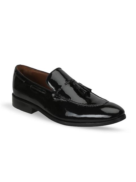 BRUNE Men Black Handmade Patent Leather Semiformal Slip-Ons