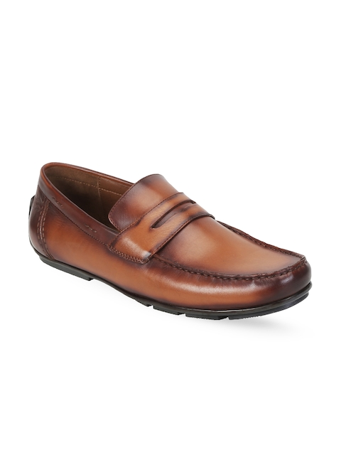 BRUNE Men Tan Brown Leather Semiformal Shoes