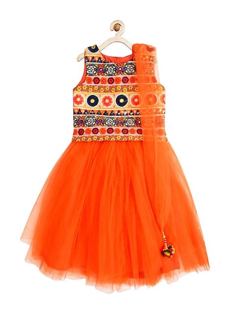 A.T.U.N. All Things Uber Nice Girls Orange Embroidered Lehenga Choli with Dupatta