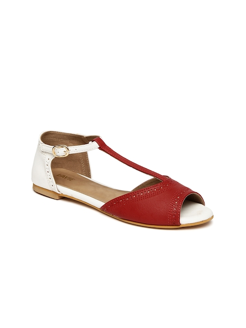Lavie Women Red & White Colourblocked Flats