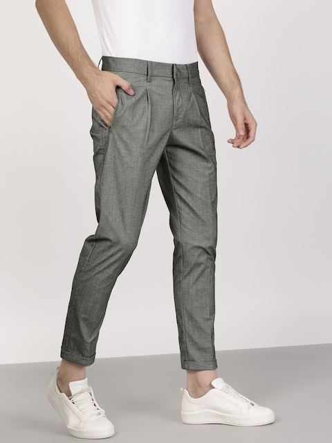 ether Men Charcoal Grey Solid Trousers