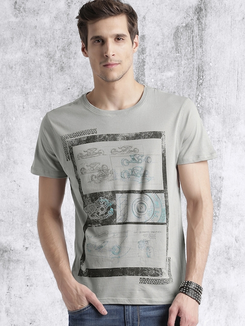 Roadster Men Grey Printed T-shirt