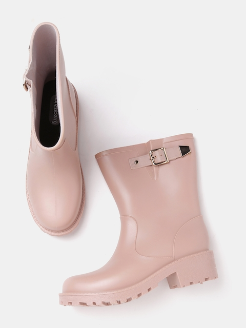 DressBerry Women Dusty Pink Solid Synthetic High-Top Flat Boots