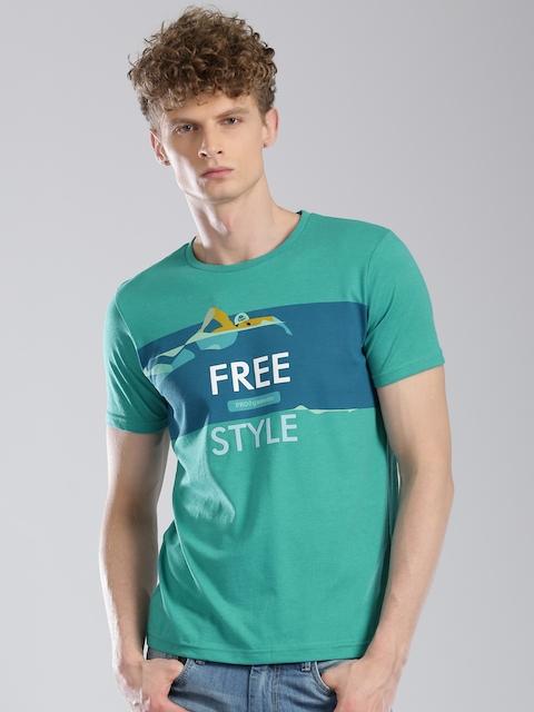 Kappa Men Green Printed Round Neck T-Shirt