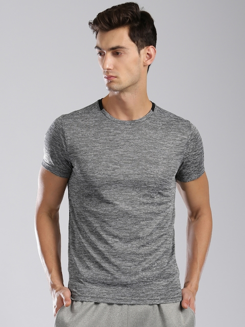 Kappa Men Charcoal Grey Solid Round Neck T-Shirt