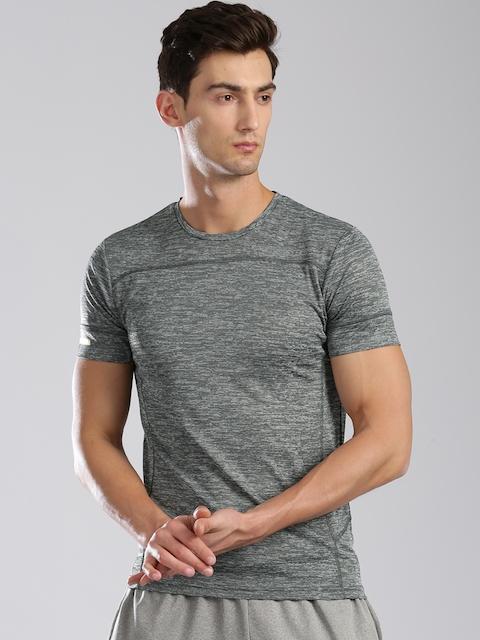 Kappa Men Charcoal Grey Solid Round Neck T-Shirt