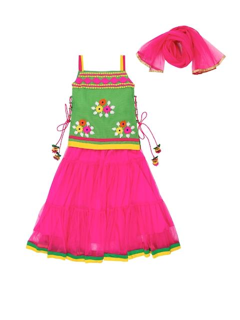 Twisha Girls Pink & Green Aari-Work Lehenga Choli with Dupatta