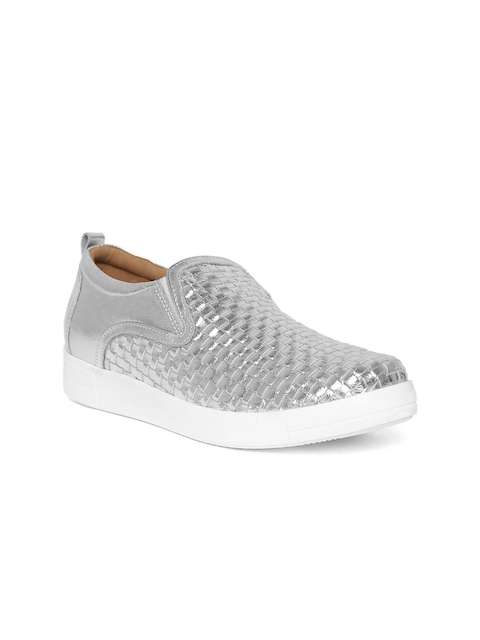 Red Tape Women Silver-Toned Basketweave Textured Leather Slip-On Sneakers