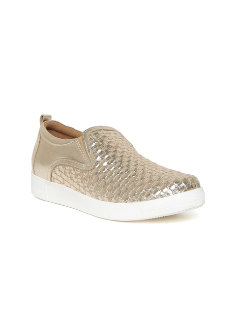 Red Tape Women Gold-Toned Basketweave Textured Leather Slip-On Sneakers