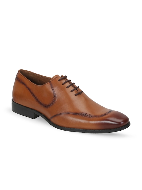 BRUNE Men Tan Brown Genuine Leather Oxfords