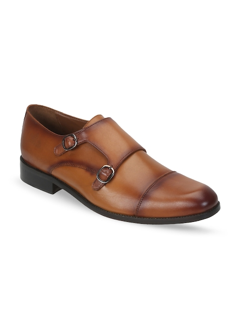 BRUNE Men Tan Brown Genuine Leather Semiformal Monks
