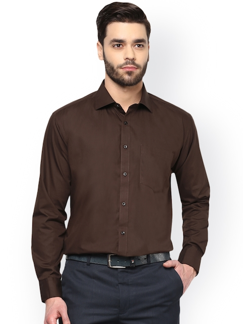 DENNISON Men Coffee Brown Comfort Regular Fit Solid Formal Shirt  available at myntra for Rs.599