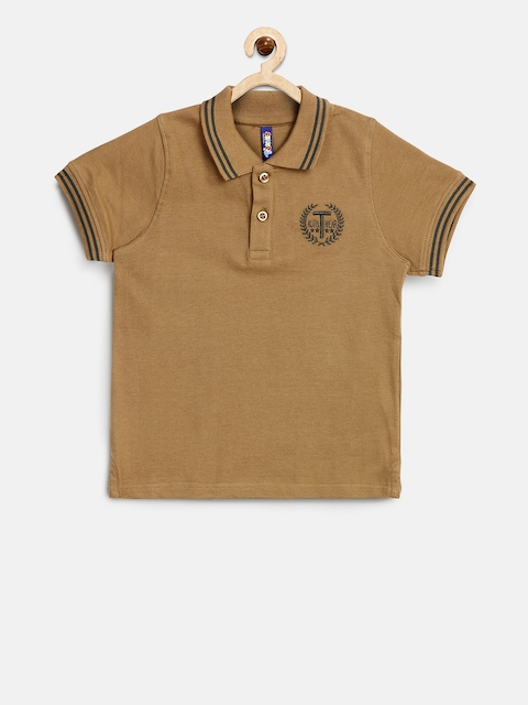 Tickles Boys Brown Solid Polo Collar T-shirt  available at myntra for Rs.314