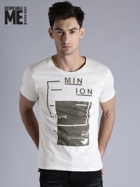 Minions by Kook N Keech Men Grey Melange Printed Round Neck T-shirt