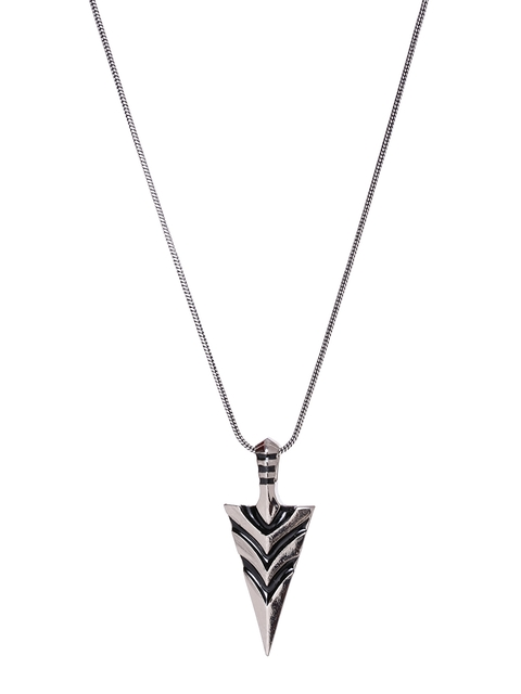 Dare by Voylla Men Silver-Toned Pendant with Chain