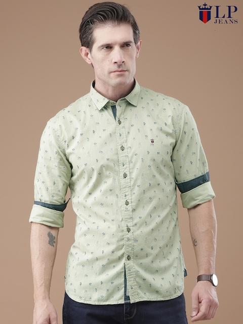 Louis Philippe Jeans Men Beige Union Square Slim Fit Printed Casual Shirt