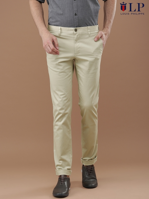 Louis Philippe Sport Men Beige Steven Slim Fit Solid Chinos