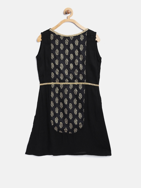 K&U Girls Black Printed Straight Kurta