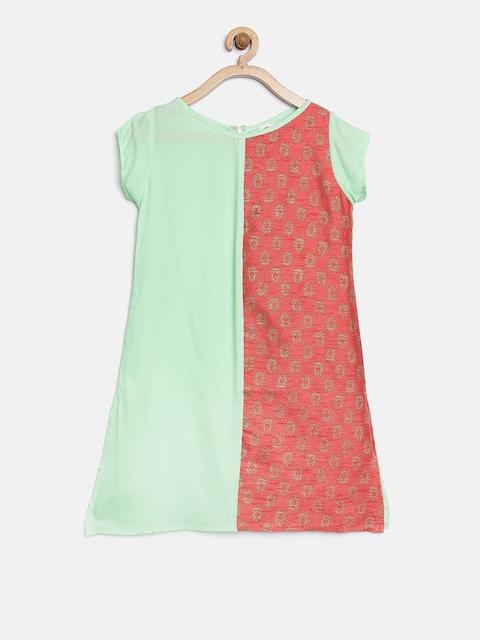 K&U Girls Green & Pink Printed Straight Kurta