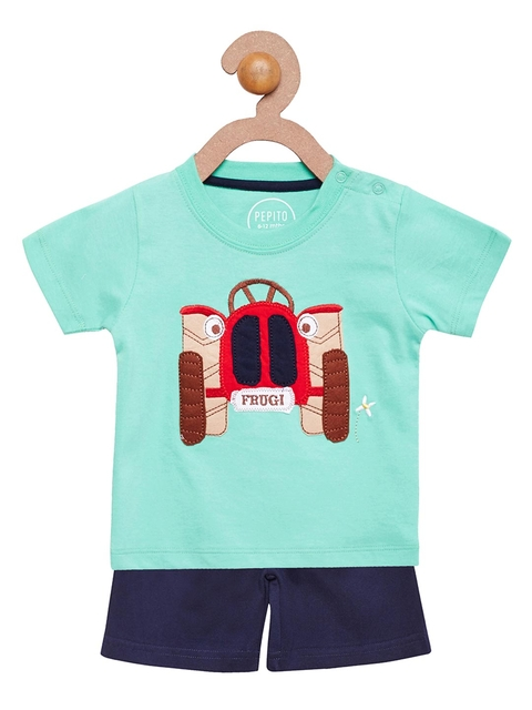 Pepito Boys Sea Green & Navy Appliqué Detail Clothing Set