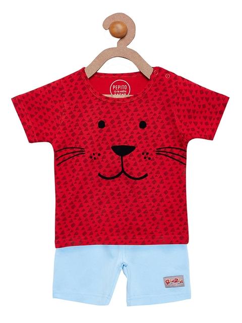 Pepito Boys Red & Blue Printed Clothing Set